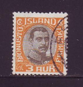 Iceland Sc O40 1920 3a Christian X Official stamp used