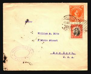 Chile 1924 Uprated Stationery Cover to NY - Z14675