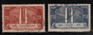 France stamp Scott 311-312 Used Canadian War memorial 1936 set