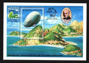 Sao Tome and Principe. 1979. BL36A. Airships, Count Zepellin. MNH.