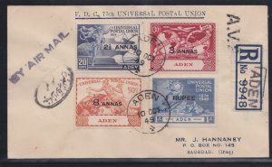 Aden  # 32-35, UPU 75th Anniversary, Registered First Day Cover