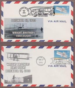 US # 3783 100th Anniversary First Flight 2 Diff Lakestamps FDCs - I Combine S/H