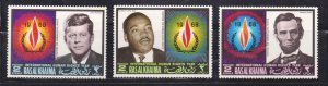 RAS AL KHAIMA - 1968 INT'L HUMAN RIGHTS KENNEDY LUTHER KING JOHN ABRAHAM 3V MNH