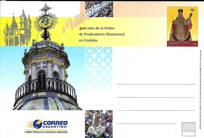 PS-161 ARGENTINA 2004 P STATIONARY RELIGION DOMINIC ORDER 400° ANIV UNUSED