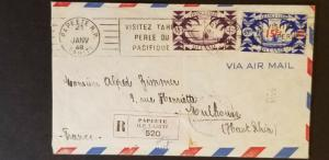 1948 Papeete Tahiti French Colony to Mulhouse France Airmail Registered Cover