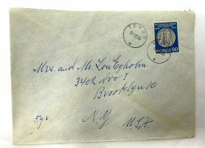 Tenor Norway > Brooklyn NY 1959 airmail covers squirrel Christmas cinderella
