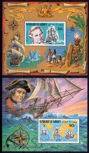Djibouti 1980 Sc#519/520  Cap.Cook & Endeavor 2 Souvenir Sheets Perforated MNH