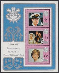 Niue 1982 MH Sc #356a Souvenir sheet of 3 Diana's 21st Birthday