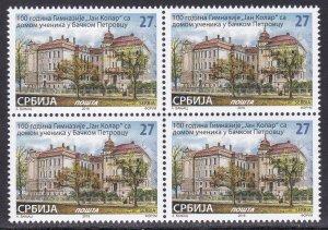 Serbia 2019 100 years of school Slovak gymnasium Jan Kolar Kollar BO4 MNH