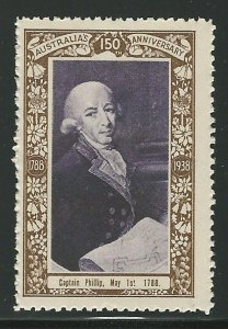 Captain Phillip, May 1, 1788, Australia, 1938 Poster Stamp, Cinderella Label
