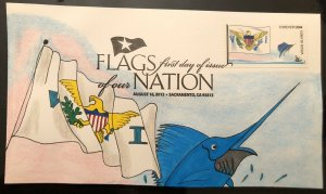 2012 Flags Of Our Nation FDC First Day Virgin Islands Hand Drawn Cachet Marlin