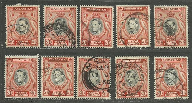 KENYA, UGANDA & TANGANYIKA 1942  Good Collection 10 Used Stamps Scott# 74 Set# 3
