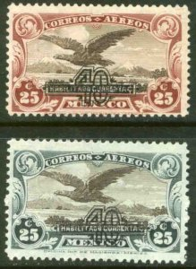 MEXICO C47-C48, 40¢ on 25¢ SURCHARGED EAGLE IN FLIGHT, UNUSED, H. OG.