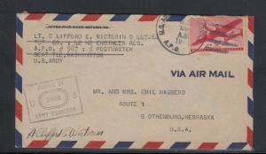 Cover World War 2 APO 987 Alaska to Nebraska 1942 or 1943 Air Mail