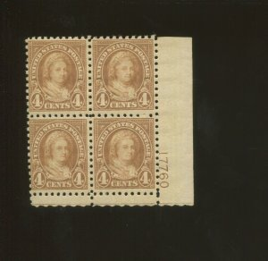 United States Postage Stamp #585 MNH F/VF Plate No. 17760 Block of 4