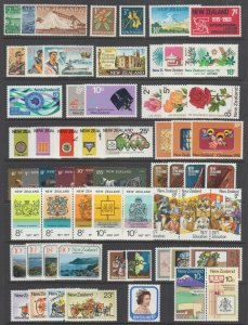 New Zealand Sc 327/735a MNH. 1959-1981 Sets & Singles, 73 different stamps, VF