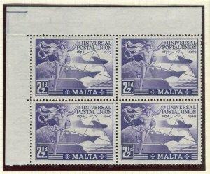 MALTA; 1949 early UPU issue fine Mint CORNER BLOCK of 2.5d. value