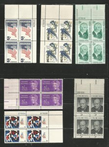 USA Stamps #1235,1236,1241,1249,1259,1264 Plate Blocks of 4