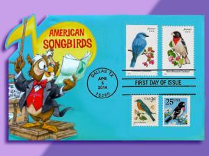Bluebird and Grosbeak in One-Of-A-Kind Franking on American Songbirds Pop-Up FDC