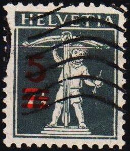 Switzerland. 1915  5c on 7 1/2c S.G.310 Fine Used