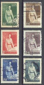 Finland Sc# 227-232 Used 1941 Field Marshal Mannerheim