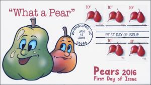 2016, 16-052, SC 5039, Red Pears, 10 cent, Washington DC, FDC, BW Cancel,