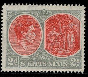 ST KITTS-NEVIS GV SG71b, 2d scarlet & pale grey, M MINT.