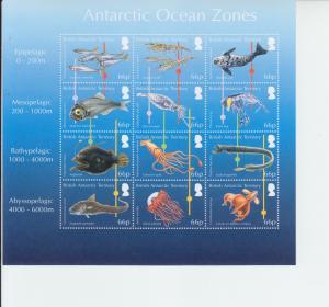 2016 British Antarctic BAT Ocean Zones SS of 12 (Scott 526) MNH