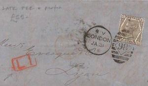 CB7 1875 GB EARLY PERFIN 6d Plate 14 London LATE FEE PAID Destination Mail Cover