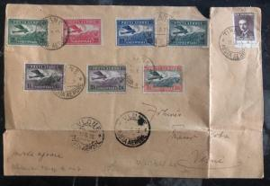 1925 Tirane Albania Airmail Cover to Vlone Sc #c1-c7 First Airmail Stamps Issue
