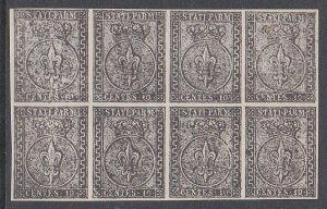 ITALY PARMA An old forgery of a classic stamp - Block of 8..................C702