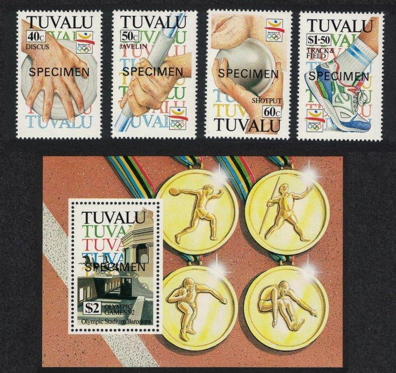 Tuvalu Olympic Games Barcelona 4v+MS Specimen 1992 MNH SG#647-MS651 CV£12.-