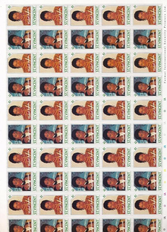 St Vincent 1985 Michael Jackson Imperf Sheets MNH x 4 (200 Stamps) You 982
