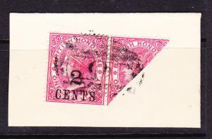 BRITISH HONDURAS  1888  2c on 1d   QV  BISECT on ENVELOPE FLAP FU  SG 37a
