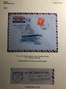 1953 Kantara Egypt Middle East Forces PO Airmail Cover To London England