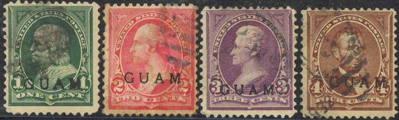 GUAM #1-7, RARE USED STAMPS Cat $700.00++