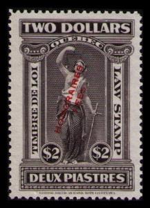 QUEBEC REVENUE TAX VINTAGE 1923 $2 #QL83 VF MNG OVERPRINT LAW STAMP CV $15.