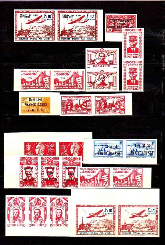 Stamp essay selection of 26 FRENCH INDOCHINA Colonies, as shown