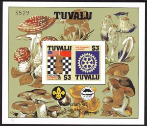 Tuvalu 1986 SG#376  Chess/Rotary/Fungi/Scouts S/S IMPERFORATED NUMERED MNH