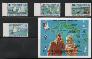 Turks & Caicos 463-467 1981 Yachts stamp set & sheet mint NH