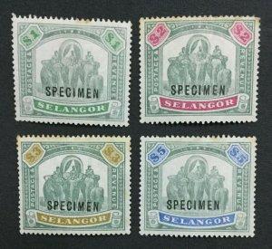 MOMEN: MALAYA SELANGOR SG #61s-64s SPECIMEN MINT OG H LOT #191525-476