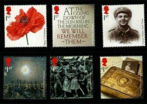 GB SG3626/31 2014 FIRST WORLD WAR MNH