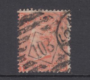 Great Britain Sc 43 used 1865 4p vermilion Queen Victoria, Plate 12
