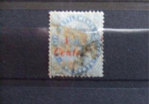 Straits QV 1884 4c on 5c blue SG73