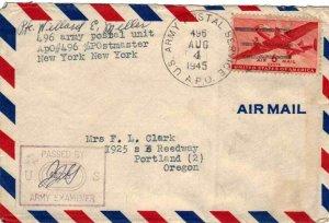 United States A.P.O.'s 6c Transport 1945 U.S. Army Postal Service, A.P.O. 496...