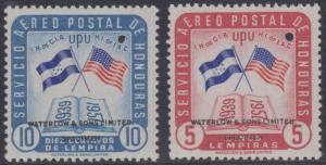 HONDURAS 1958 FLAG OF USA Sc C282 & C288 TOP VALUE PERF PROOFS + SPECIMEN MNH