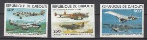 DJIBOUTI SC# C124-C126 POWERED FLIGHT 75th. ANNIVERSARY MNH - IMPERF