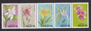 Palau # 241a, Orchids, Strip of Five Different, NH, 1/2 Cat.