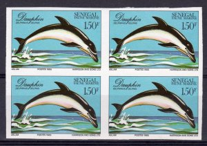 Senegal 1987 Sc#704 DOLPHINS-MARINE LIFE Block of 4 IMPERFORATED MNH