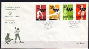 Netherlands Antilles. Scott cat. B174-B177. Moscow Olympics. First day cover. ^